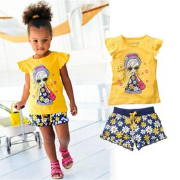 Summer flower Set Children chrysanthemum Short Sleeve Cartoon T-shirt + Short Pants Sport Suits Girl Clothing Sets B