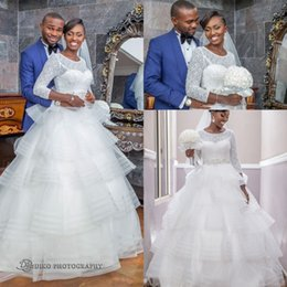 New South African 3 4 Sleeves A-line Wedding Dresses Arabic Beaded Crew Neck Tiered Ruffles Skirt Bridal Gowns with Beaded Belt