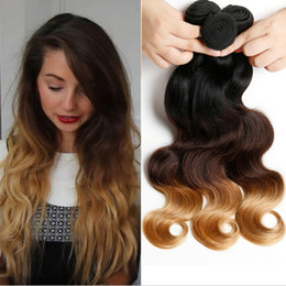 Malaysian 9A Ombre Hair Extensions 1b 4 27 Ombre Hair Weaves 3pcs lot Blonde 1B 4 27 Body Wave Human Hair