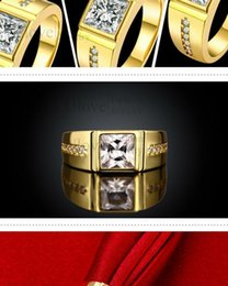 High Quality New Brand Citrine Ring Of Man Husband Crystal Cubic Zirconia Jewelry China Men's Gold Korean Fashion Male Rings 2016 Hot sale