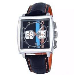 Wholesale sponsored supplier New brand watches men monaco quartz chronograph watch color flag original bracelet leather belts Watch Men dress Watches