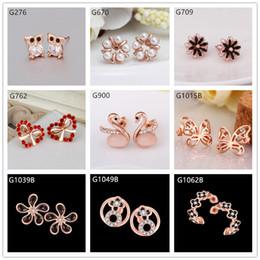 Burst models 10 pairs mixed style women's butterfly swan owl crystal gemstone 18k rose gold earring GTG27,cheap rose gold stud earrings