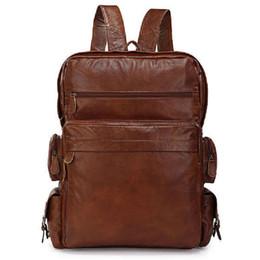 2016 Nouveaux sacs à dos élégants en cuir véritable en cuir véritable à 100% pour sacs à dos universitaires Sacs à bandoulière en gros 7078 à partir de hommes bruns sacs à dos fabricateur