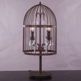 Wholesale Retro antique rust wrought iron cage crystal table lamps large french empire style crystal Restoration Hardware desk Lighting