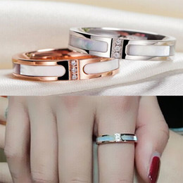 Titanium Stainless Steel & Shell Rings, Yellow Gold  Rose Gold Silver Metal colors with Rhinestone Women Men Wedding Band Jewelry