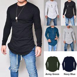 New fall trends, male T-shirts, multi colored long sleeve Justin Bibb Long hem T-shirts Street recreation Sweater hip hop tops free shipping