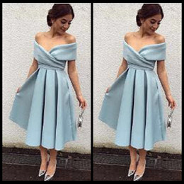 Elegant Sky Blue Off the Shoulder Pleated Tea Length Prom Dresses Simple Formal Evening Gowns