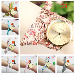 Ribbon printed flower Bracelet Watches Weave Bracelet Watches Charms Watches Lady Wrap Watches Love Wrist Watches Mix 15 Colors