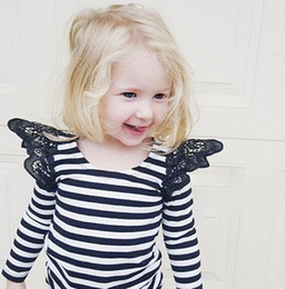 Wholesale New Style Baby Girls Romper Toddler Kids Long Sleeves White and Black Striped Lace Cotton Jumpsuit Cute Infant Clothes