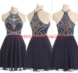 2017 New Homecoming Dresses Jewel Neck Chiffon Navy Blue Crystal Beads Short Mini Illusion Party Graduation Formal Plus Size Cocktail Gowns