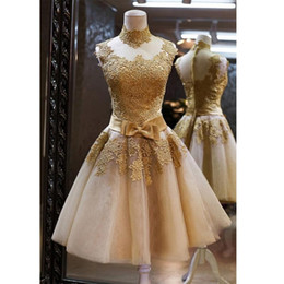 Wholesale 2016 Lovely Golden Cocktail Dresses A Line High Neck Ribbon Floral Appliques Sheer Back Short Homecoming Party Gowns