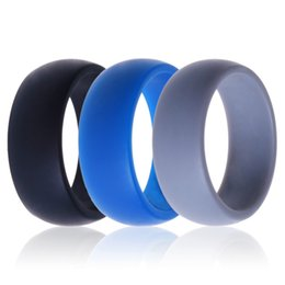 Wholesale Men Women Silicone Wedding Ring Black Grey Blue Band Rubber Ring for For Sports Enthusiast Active Men