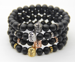 Wholesale Bracelets by 8mm Real Matte Agate Stone with Micro Pave Black CZ Stoppers Beads, Double-face Spartan Helmet