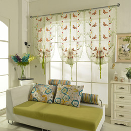Roman Sahdes&Blinds Short Curtain Butterfly Printed Curtains For Kitchen Coffee Tulle Yarn Sheer Curtains Cortinas For Skylight