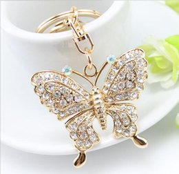 Wholesale 2016 New Manufacturers selling exquisite fashion butterfly diamond pendant car keys key chain bag furnishing articles