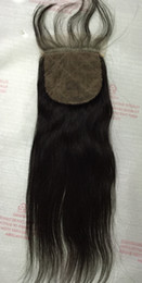 Wholesale Brazilian virgin hair Human Hair Straight Silk Base Closures Bleached Knots Unprocessed Hair Silk closure Products Best quality silk top