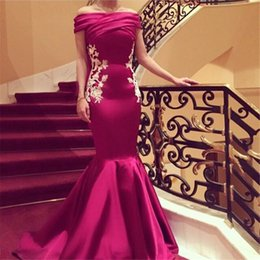 Cheap Red Rose Mermaid Satin Prom Dresses 2016 White Embroidery Off the shoulder Custom Made Formal Party Dresses