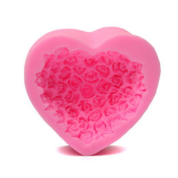 Wholesale Silicone Heart Shaped Chocolate Mould - 3D Heart-Shaped Rose Silicone Mold DIY Candy Cake Baking Chocolate Decorating Fondant Mould Ice Soap Modelling Tool MD435