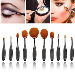 Wholesale 10 New Professional Soft Oval Toothbrush Makeup Brush Sets Foundation Brushes Cream Contour Powder Blush Lip Concealer Brush DHL