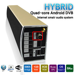 Wholesale SOUNDBAR KS2 Speaker DVB Online TV Kodi Internet Smart Audio System Golden metal case DVB T2 Soundbar Hybrid Amlogic S905 TV Box