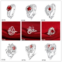Mixed style burst models fashion red gemstone 925 silver plate ring EMGR5,Butterfly planet plated sterling silver ring 10 pieces a lot