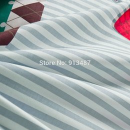 Wholesale reactive printing bedding sets big red bowknot gray white stripes green sheets sets Queen Double size duvet cover set linens