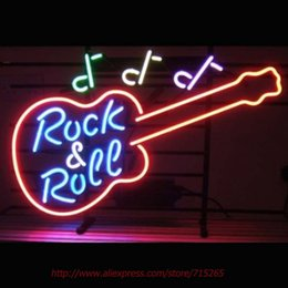 Wholesale Rock Music and Roll Guitar Neon Sign Neon Bulbs Led Sign Real Glass Tube Lamp Handcrafted Decorate Beer Pub Advertise VD x14