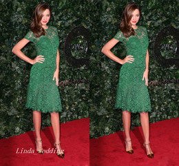 Free Shipping Green Miranda Kerr Evening Dress New Lace Knee Length Short Formal Party Gown Celeybrity Dress