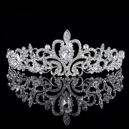 Wholesale 2016 Cheap Sparkle Beaded Crystals Wedding Crowns Bridal Crystal Tiara Crown Headbands Hair Accessories Party Wedding Bridal Tiara