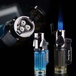 Wholesale-Windproof Trip Torch Jet Flame Refillable Butane gas Cigarette Cigar Lighter