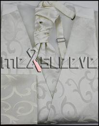 Mariage met en vente à vendre-Gilet d'ascot de gros-chaud vente ivoire tourbillonnement Tie Hommes Set pour le mariage
