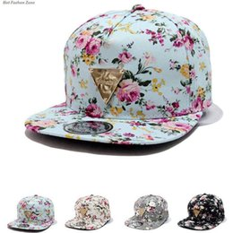 2017 Fashion Hip-Hop Hat Baseball Cap Floral Flower Snapback Flat Peaked Adjustable 4 colors to ukraine also 50