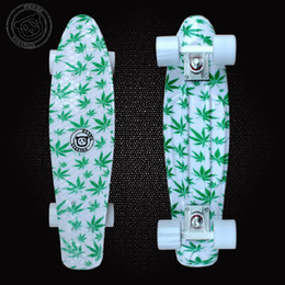 Wholesale 22inchs Long Hydrographics Transfer Printing Leaves Pattern Good Quality Mini Cruiser Skateboard Retro Fish shaped Penny Style Board