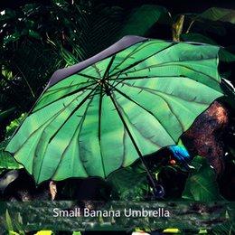 Wholesale Fashion women black summer all weather umbrella art banana bumbersoll sunscreen anti UV umbrella black rubber coated