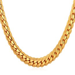 18K Rose Gold Plated Necklace With 18K Stamp Men Jewelry 22inch Snake Chain Necklace Shipping from U.S.