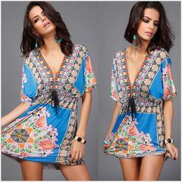 Wholesale New Women Summer Dresses Hot European American Apparel Silk Robe Sexy Beach Dresses Plus Size Women Clothing Holiday LYQ