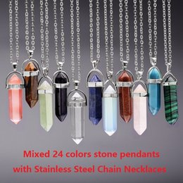 Wholesale Best Quality Bullet Shape Pendant Necklaces Stainless Steel Chains Hexagonal Prism Quartz Crystal Natural Stone Jewelry for women men CC