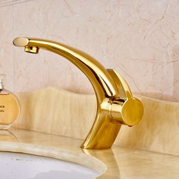 Wholesale Luxury Brass Gold Finish Basin Faucet Bath Vanity Sink Tap Deck Mount One Hole Mixer Tap