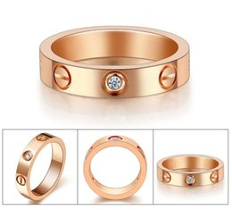 Wholesale 316L Titanium steel ring K rose gold ring silver wedding ring Love style ring screw fashion jewelry rings for women TOP quality