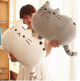 Wholesale Kawaii Brinquedos New Pusheen Cat Pillow With Zipper Only Skin Without PP Cotton Biscuits Kids Toys Big Cushion Cover Peluche