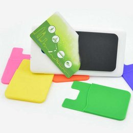 10 pieces lot Universal Size High Quality Silicone Smart Phone Pouch Strong Adhesive Card Pocket ID Card Holders Material Escolar