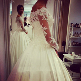 Vintage A Line Wedding Dresses With Long Sleeve Button Court Train Beading Lace Custom Made Bridal Gown Romantic Wedding Dress 2016