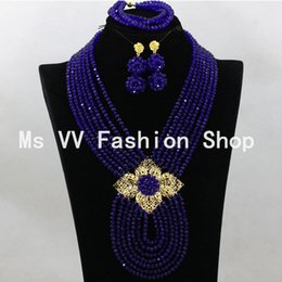 Royal blue African beads Jewelry Sets 18K Gold Champagne nigerian Wedding Beads silver jewellery pendant sets 2019 new african items G01