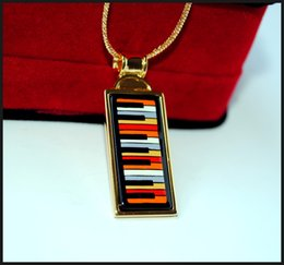 Playing Music Series 18K gold-plated enamel necklaces for woman Top quality rectangular pendant necklace free shipping collier