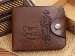 Wholesale Brand new Men s wallet Cowboy style Brown wave of money Antique Wallets Short paragraph