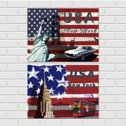 Wholesale Pieces unframed art picture Canvas Prints Stars and Stripes New York car flower Beer Triumphal Arch Eiffel Tower Big Ben