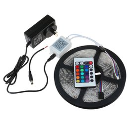 RGB LED Ribbon Strip Light 3528 SMD 60LED M Flexible Non Waterproof DC 12V + 24 key IR Remote connector + Power Supply adapter stwich By DHL