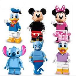 Wholesale 6pcs set Collector s edition Minifigures Mickey Minnie Donald Duck Daisy Stitch Genie Building Block Bricks Kids Toys Gift