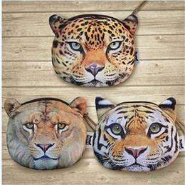 500PC 3 designs Tiger leopard lion purse 3D Printing coin Mini cute Animal's Head Shape Bag Wallet Coin Purses Billfold Burse D640