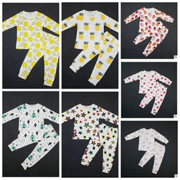 Wholesale Baby Ins Pajamas Lemon Nightwear Cactus Pineapple Sleepsuits Strawberry Boy Girl Nightwear Pajamas Set Sleepwear KKA525